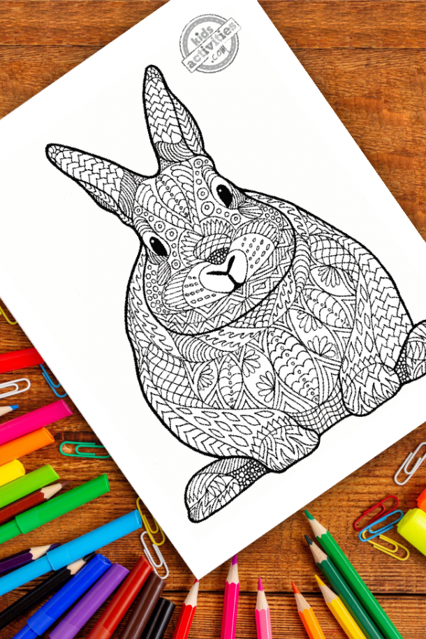intricate bunny zentangle pattern art ready to be colored with mixed art supplies and bright colors