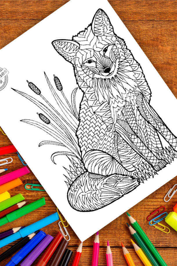 intricate fox zentangle pattern art ready to be colored with mixed art supplies and bright colors