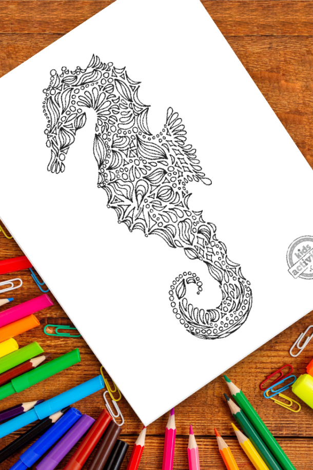 intricate seahorse zentangle pattern art ready to be colored with mixed art supplies and bright colors