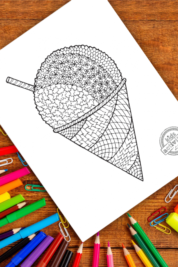 intricate snow cone zentangle pattern art ready to be colored with mixed art supplies and bright colors