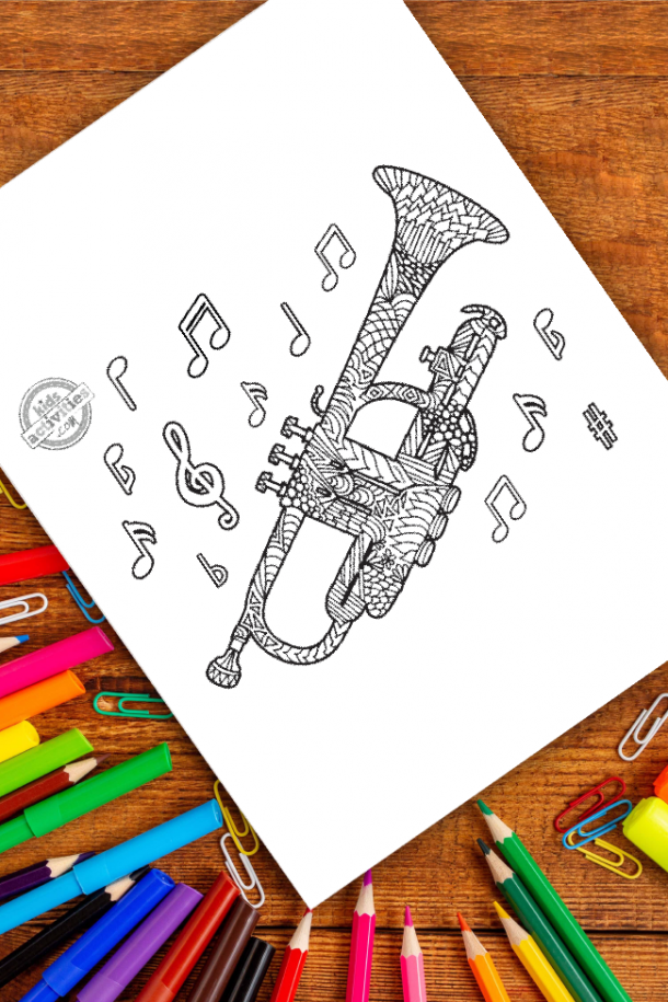 intricate trumpet zentangle pattern art ready to be colored with mixed art supplies and bright colors
