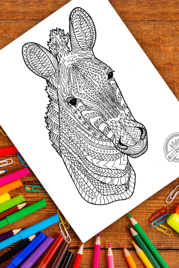 intricate zebra zentangle pattern art ready to be colored with mixed art supplies and bright colors