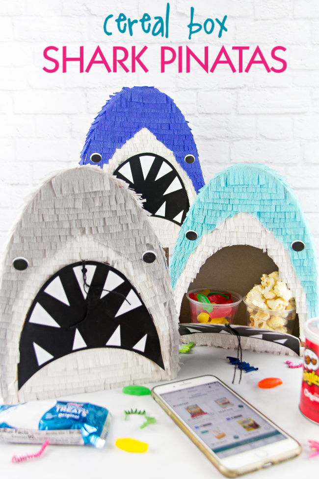 cereal box shark pinatas for shark week