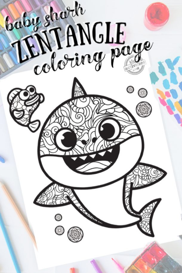 This Baby Shark Zentangle Coloring Page For Kids Is Too Cute