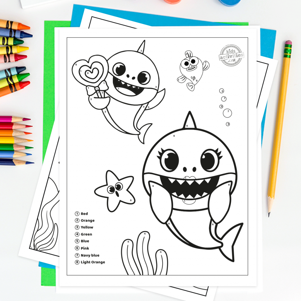 Baby Shark Free Printables Color by Number Activity