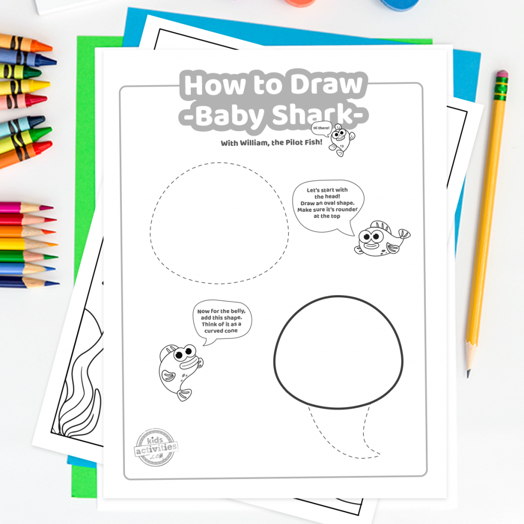 Easy Printable: Learn How to Draw Baby Shark