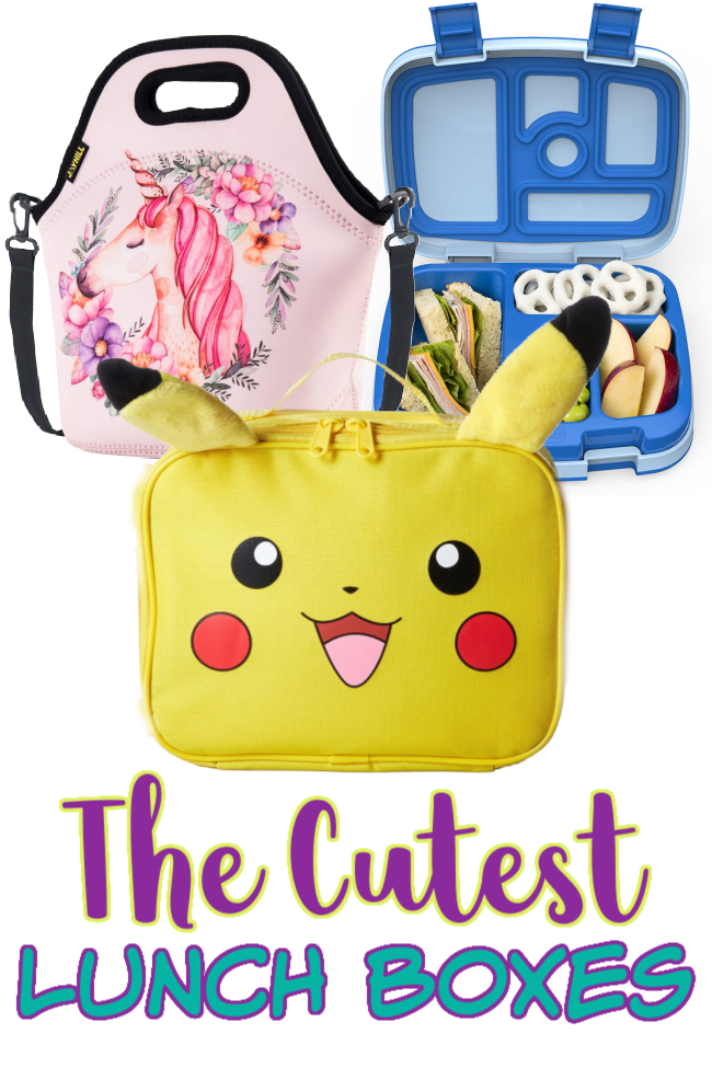Best lunch boxes for kids showing a unicorn lunch bag, a pokemon pikachu lunch box, and a bento box for kids