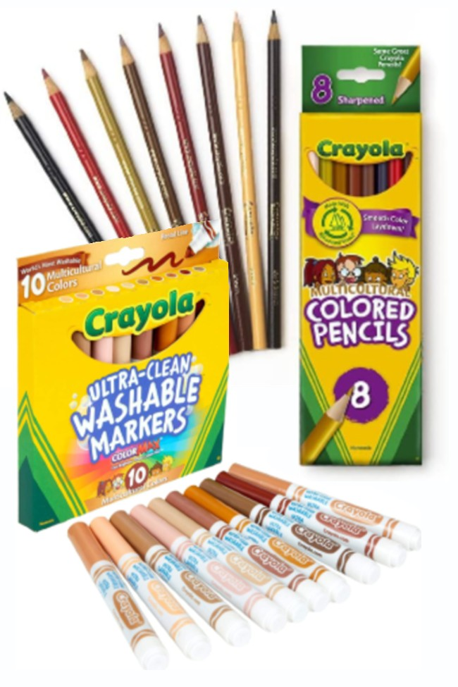 Crayola multicultural skin tone products markers and colored pencils to help all children represent themselves accurately.
