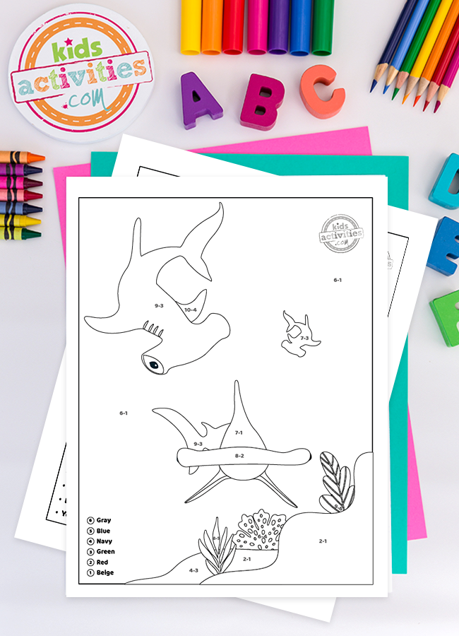 Shark Week Color By Number Subtractions Coloring Pages