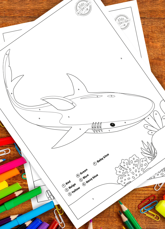 Free Shark Week Color by Number for Kids Printable