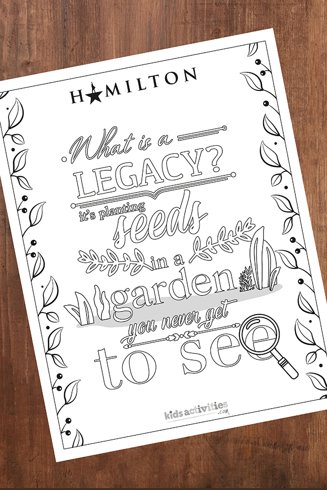 Alexander Hamilton coloring page with quote about legacy