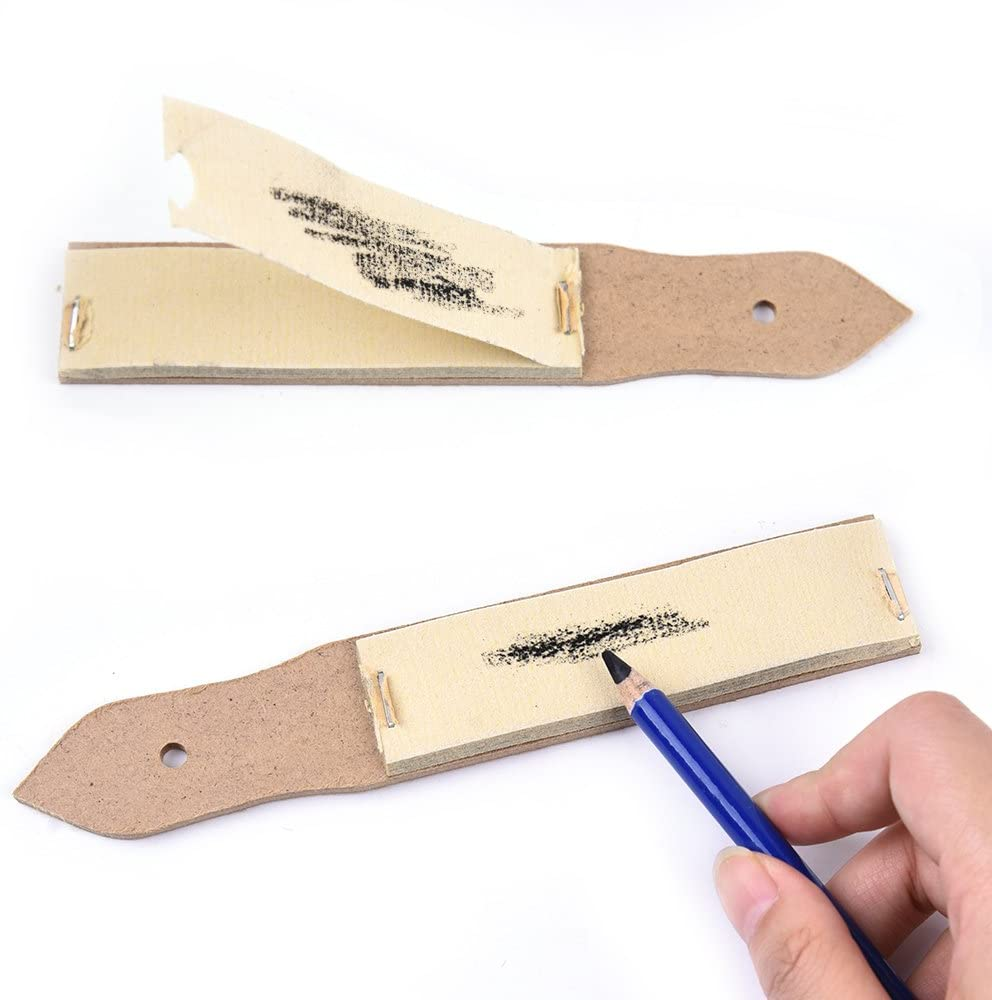 Sandpaper Pencil Sharpener Lead Pointer Art Drawing Tool shown with pencil marks on the sandpaper to demonstrate use