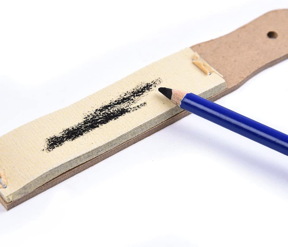 Sandpaper Pencil Sharpener Lead Pointer Art Drawing Tool demonstrating use with a blue pencil