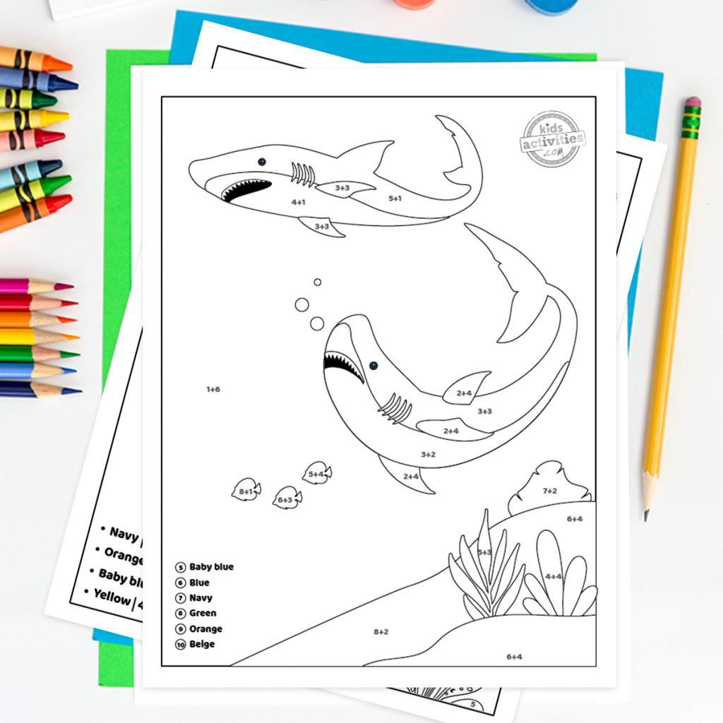 Color by numbers shark week