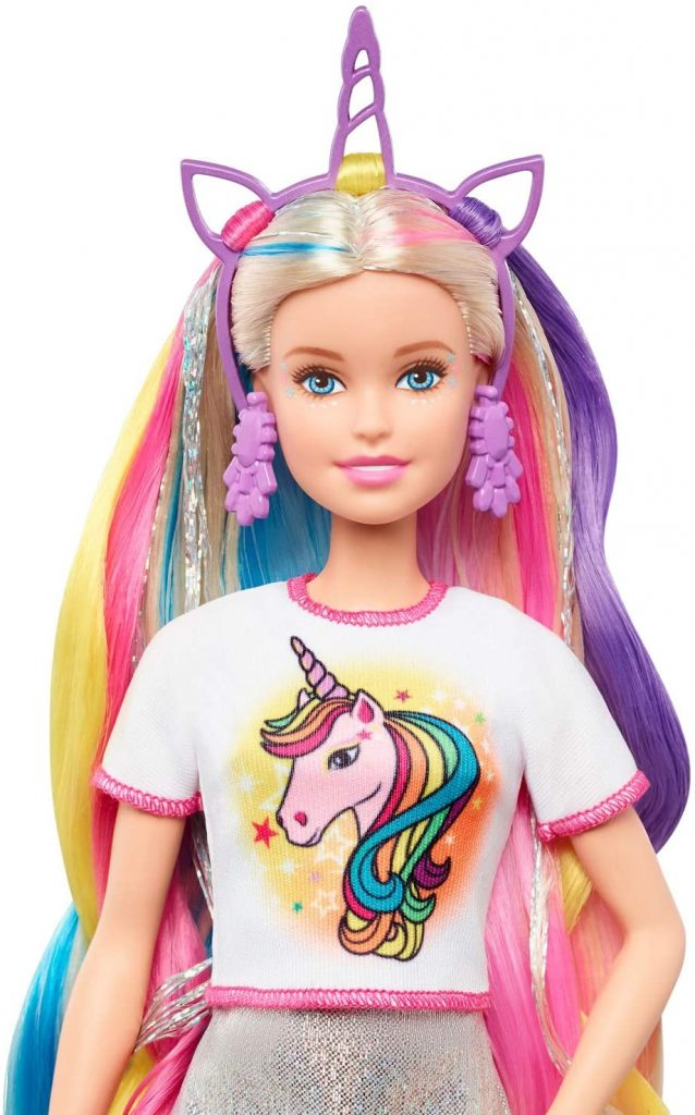 Barbie Fantasy Hair Doll with unicorn t-shirt and crown