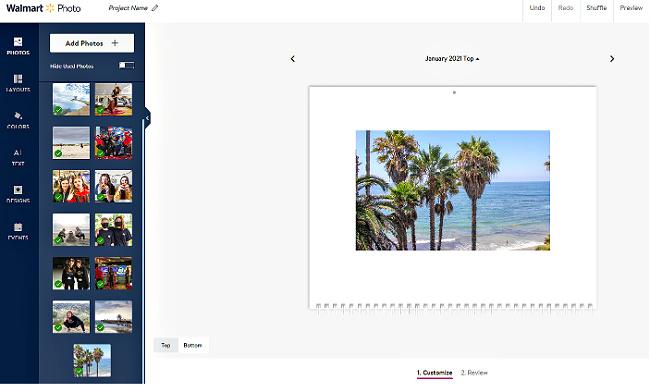 a screenshot of a walmart photo calendar