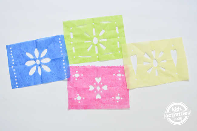 Colorful banner from tissue paper for day of the dead