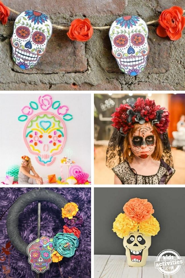 various crafts collage for day of the dead celebration
