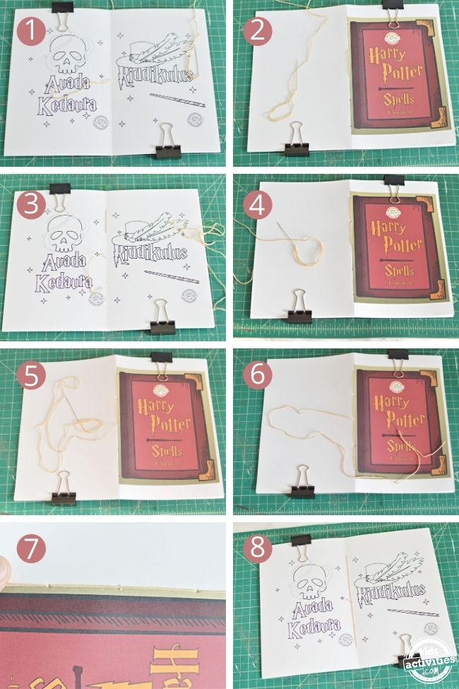 step by step image on how to bind a book using saddle stitch