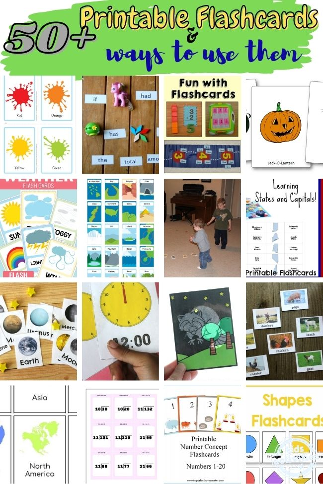 collage of printable flashcards and ways to use them