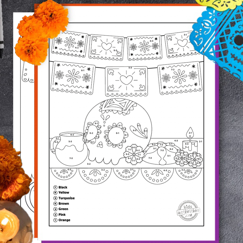 Day of the Dead math coloring worksheets