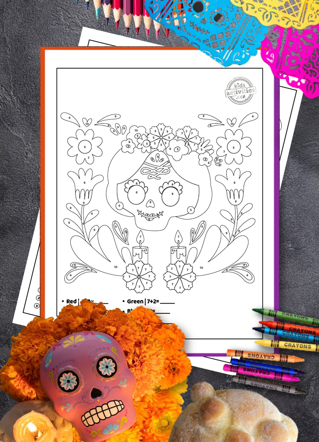 color by number printable Day of the Dead