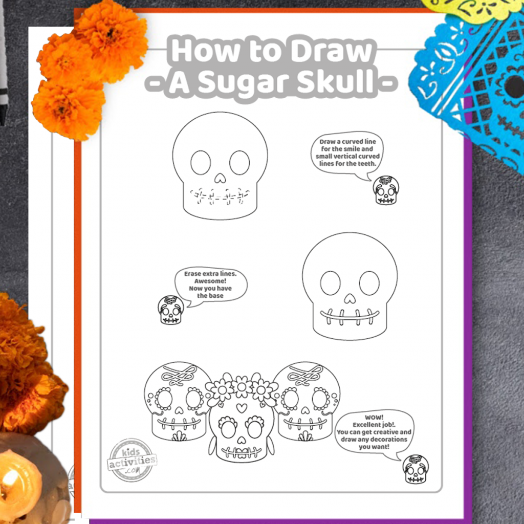 cute pictures to draw - How to Draw a Sugar Skull drawing tutorial with Day of the Dead decorations - Kids Activities Blog