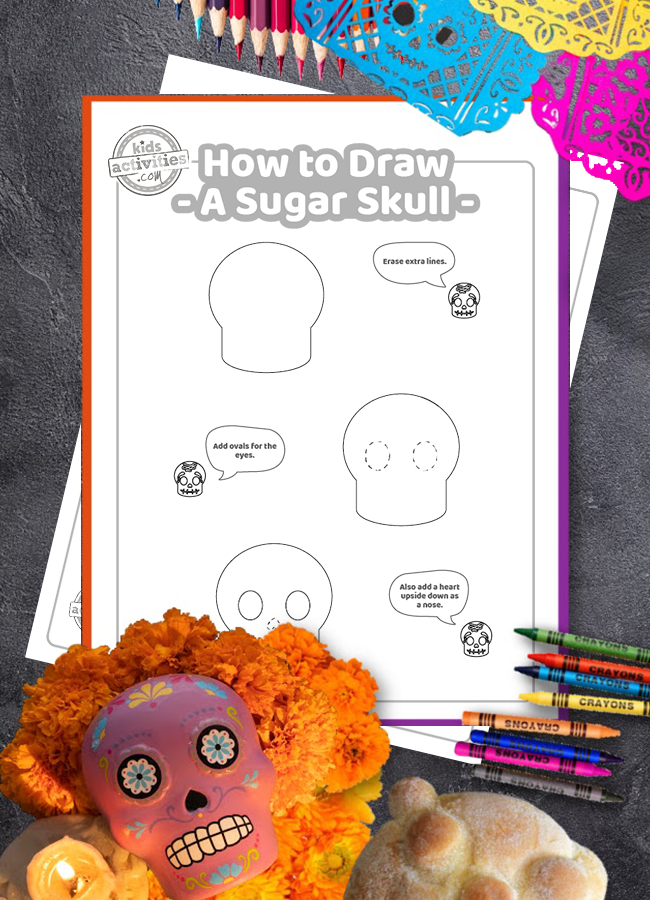 day of the dead art - How to Draw a Sugar Skull tutorial shown in a stack with crayons and Day of the Dead decorations - Kids Activities Blog