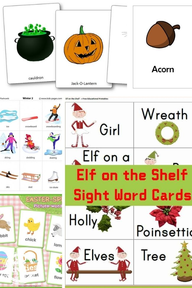 collage of season and festival DIY flashcards