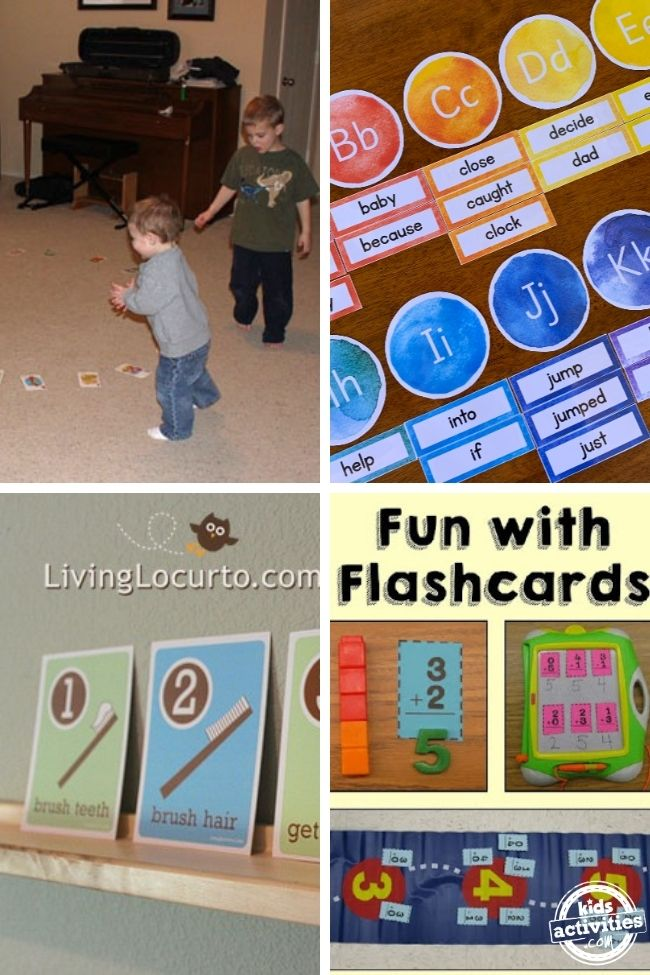 collage of how to make flashcards and ways to use them  with musical cards, letters and sight words, checklist cards, and basic math cards.