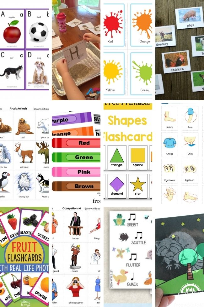collage of diy flashcards for preschool kids with crayons, basic shapes, animals, fruits, sand, paint splatters, and body parts.