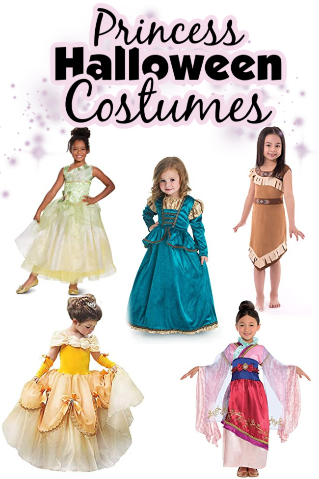 Princess Halloween costumes for kids. Purple sparkles in the background of little girls wearing a Merida costume, a Pocahontas costume, a Tiana costume, a Belle costume, and a Mulan costume.