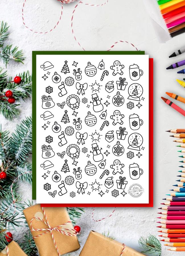 Coloriages de Noël doodles du blog Kids Activities