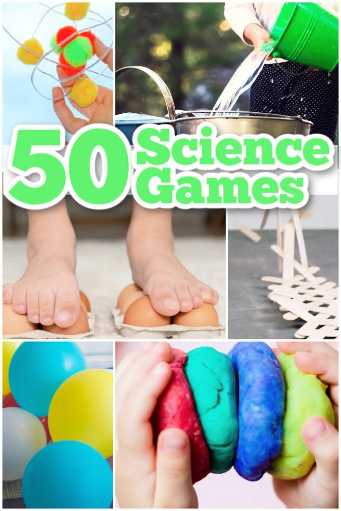 50 Best Science Games for Kids from Kids Activities Blog - atom, pouring water, walking on eggs, exploding craft sticks, balloons and play dough