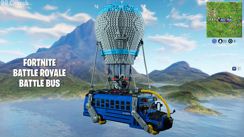 Fortnite Battle Royale Bus is shown made out of LEGOs, in this custom build!