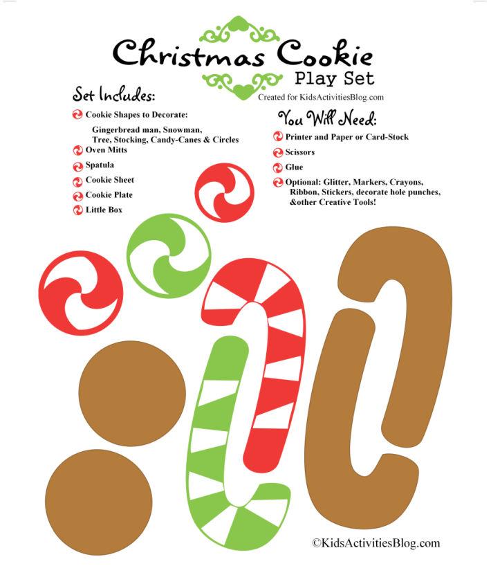 ensemble de cuisson à biscuits de Noël imprimable du blog d'activités pour enfants - ce que l'ensemble comprend et les fournitures dont vous aurez besoin pour faire ce métier de Noël amusant