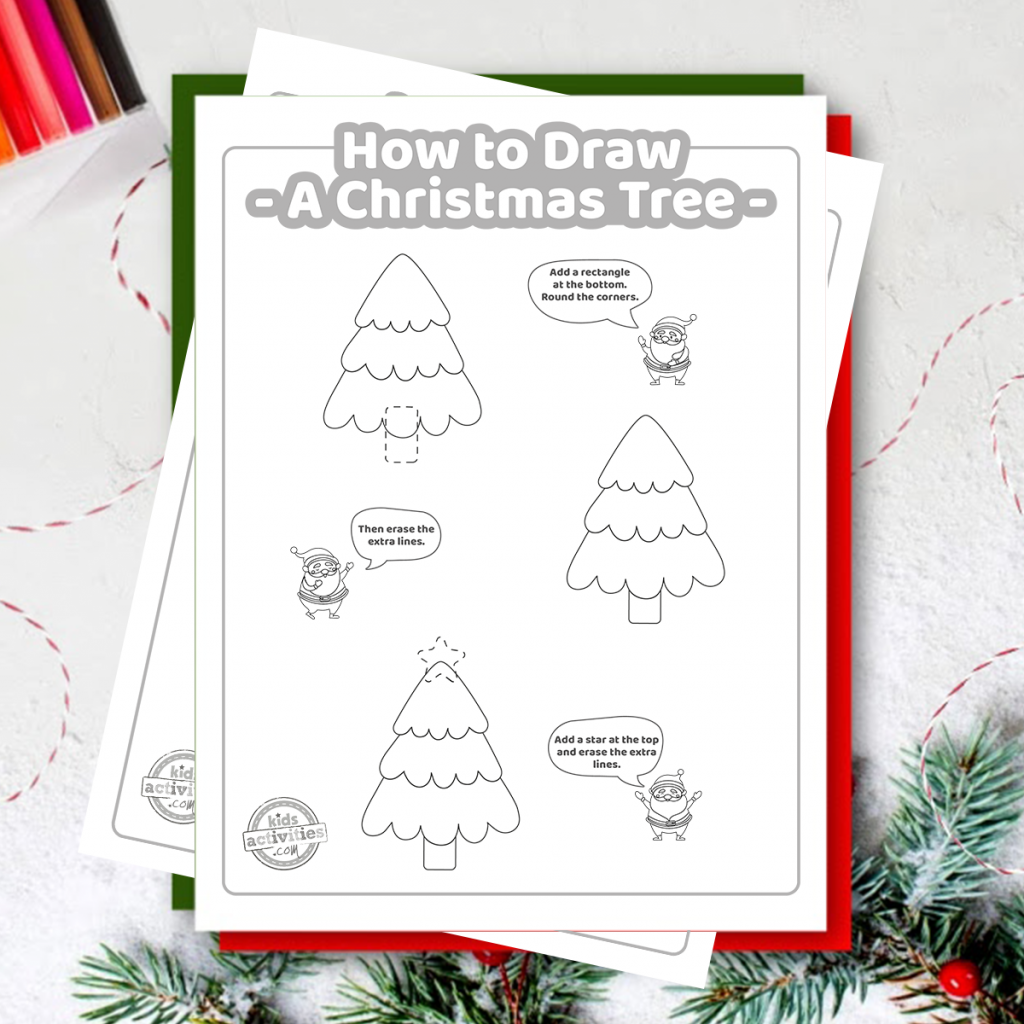 easy how to draw a christmas tree