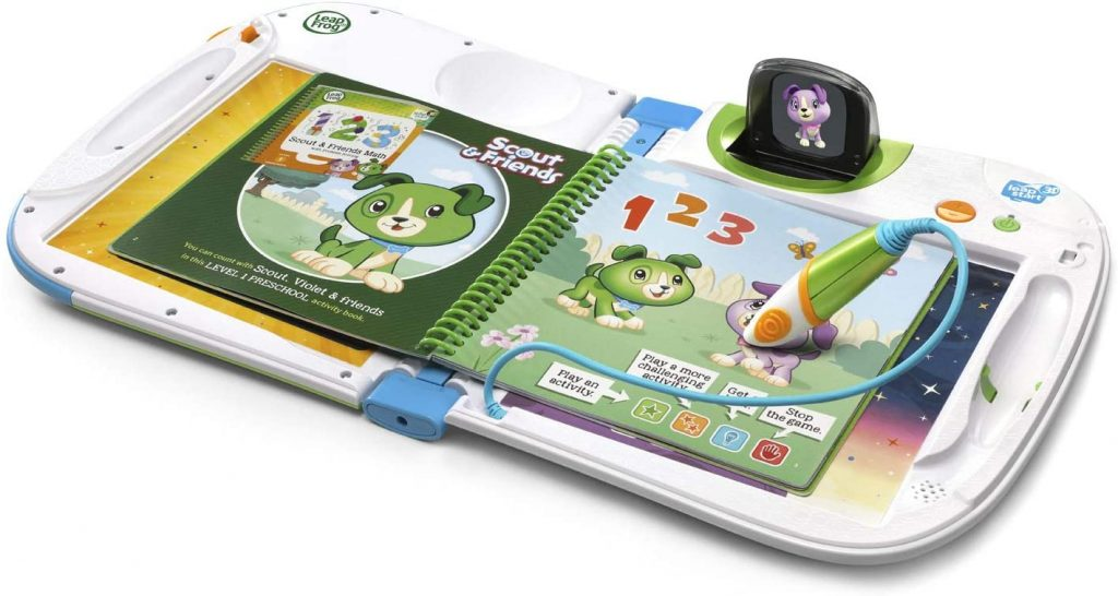 leap frog leap start model with stylus use depicted on a book