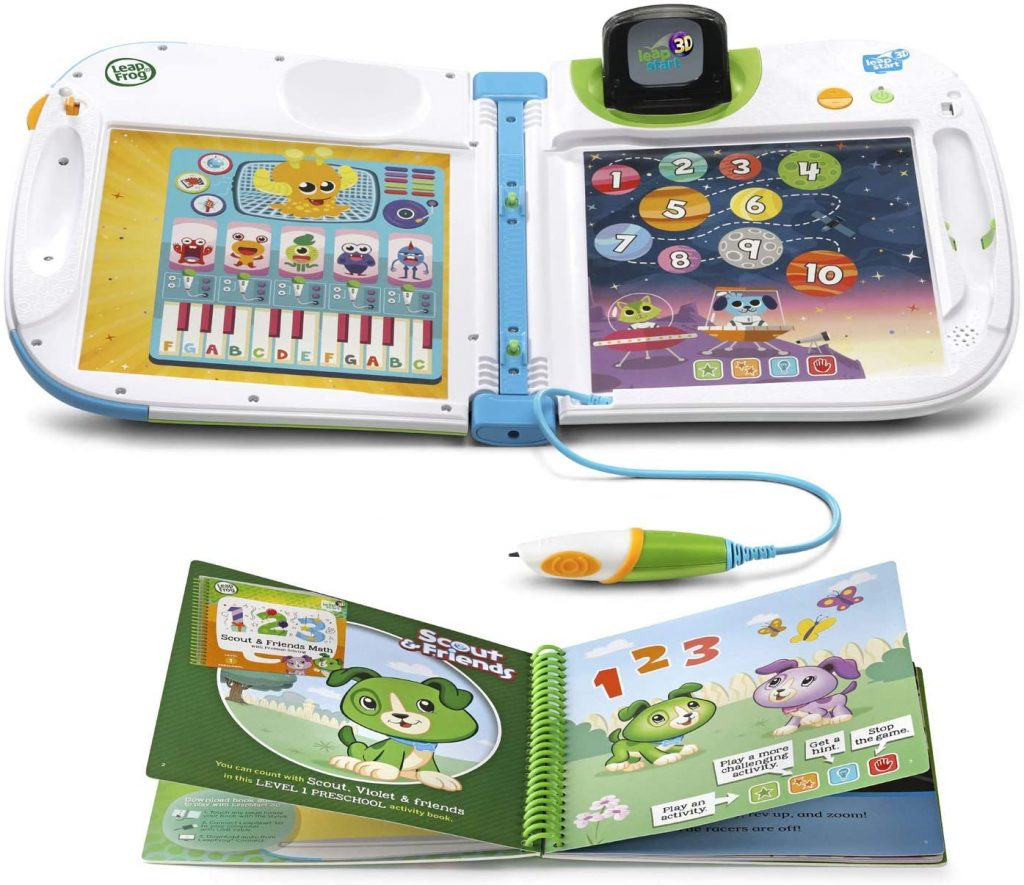the leapfrog leapstart is shown open with activities on the inside for education. books can be added and children can grow through the three levels of learning.