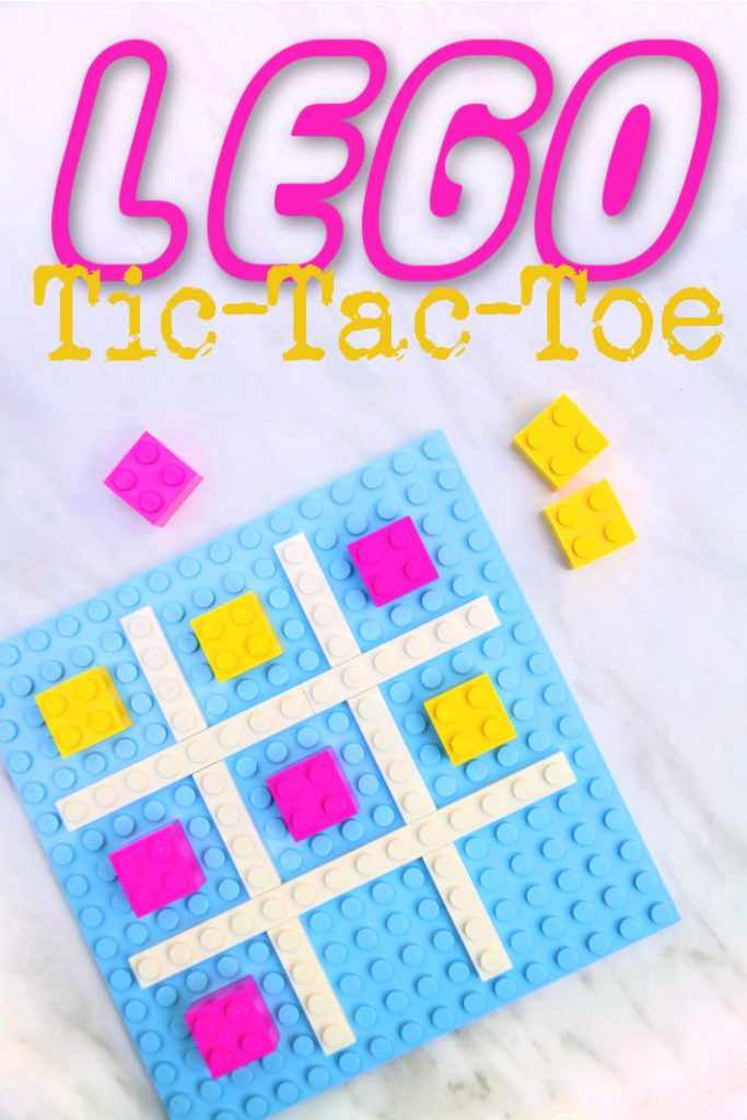 LEGO tic tac toe from Kids Activities Blog - pictured is blue lego base piece with white board and pink and yellow bricks for game pieces
