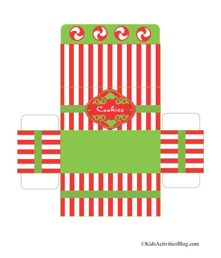 """boîte de Noël pliable imprimable pour biscuits - Blog d'activités pour enfants - boîte rayée rouge et blanche avec bordure verte qui dit """"biscuits"""""""