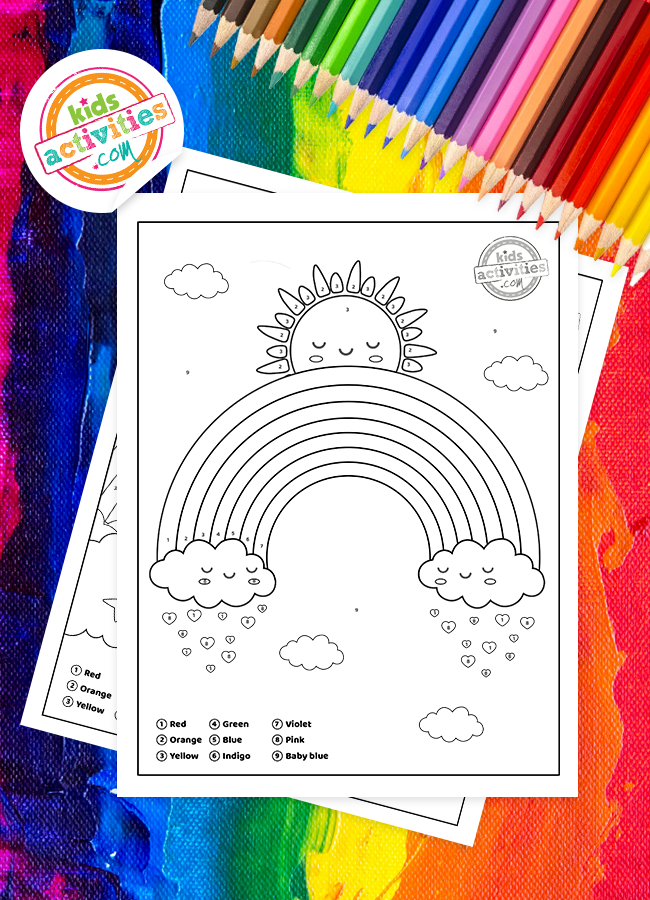 rainbow color by number printables