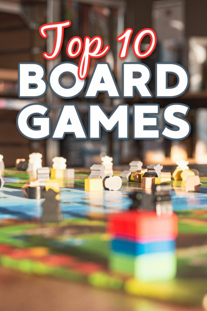 """Top 10 Board Games for families to play together as chosen by Kids Activities Blog - shown board game with words """"Top 10 Board Games"""" in library setting"""