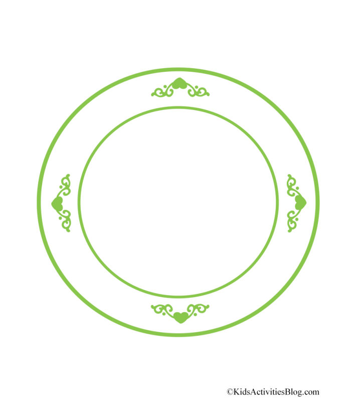 assiette à biscuits imprimable pdf avec bordure verte idéale pour les biscuits de Noël en papier