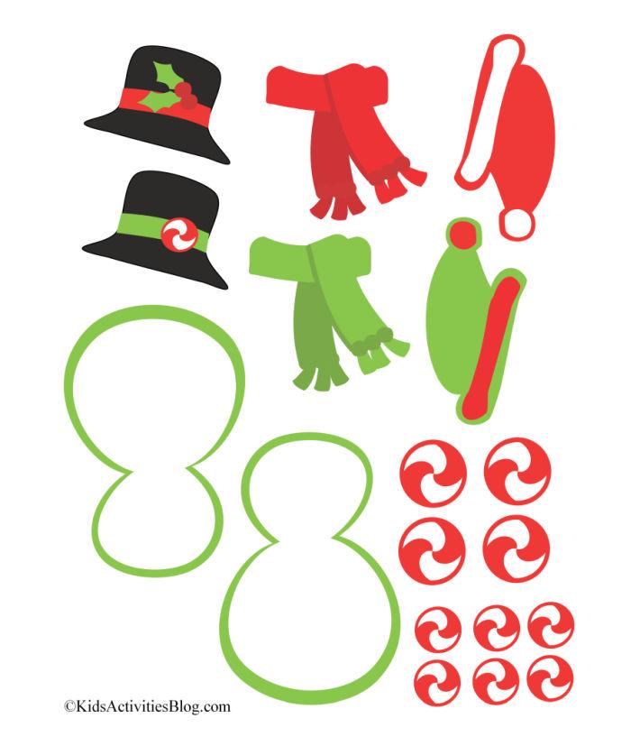 Décorations de bonhomme de neige imprimables mignonnes - chapeau haut de forme avec houx, écharpes rouges et vertes, bonnets d'elfe, bonbons tourbillonnants rouges et glaçage de bonhomme de neige avec passepoil vert.
