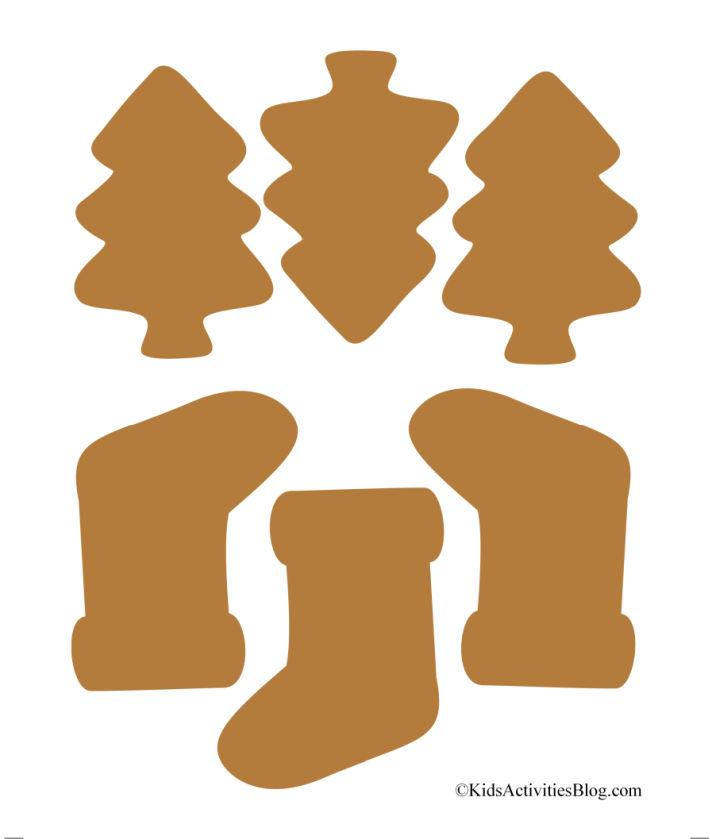 adorables biscuits en papier imprimables - arbres en pain d'épice et bas en pain d'épice prêts pour la décoration