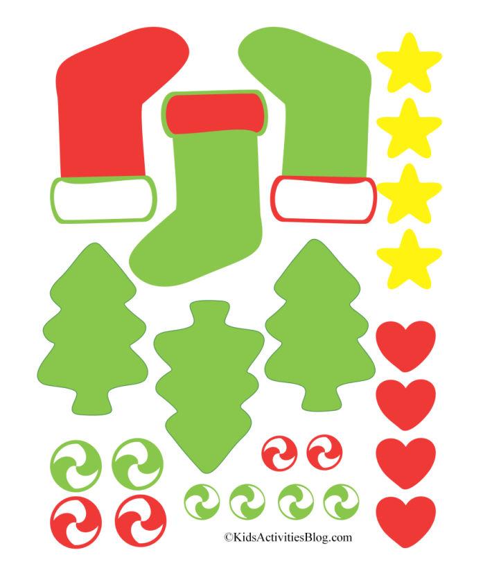 téléchargement pdf pour les décorations de biscuits au pain d'épice imprimables - arbres de Noël et bas de Noël - étoiles, coeurs, glaçage vert et rouge et bonbons tourbillonnants