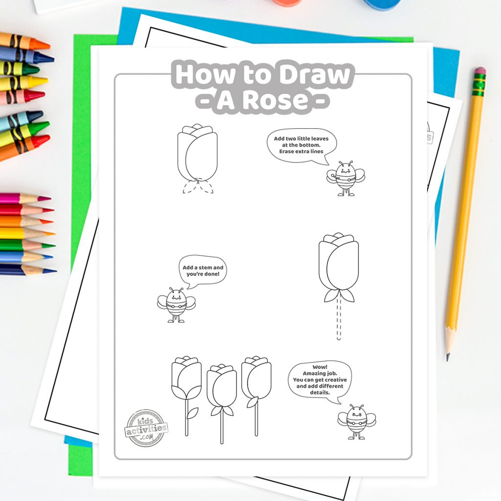 how to draw a rose with a pencil