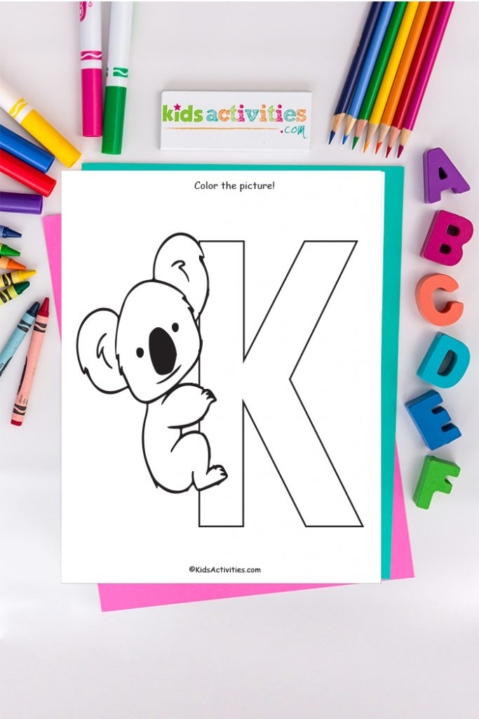 letter k coloring page - color the picture!  - Koala bear clings to capital letter k - Kids Activities Blog with ABC's colored pencil and markers