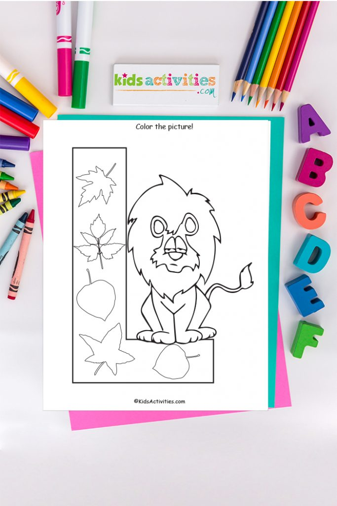 Letter l coloring page Kids Activities Blog with lion and leaves on the background of ABCs colored pencils and markers